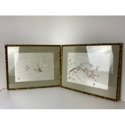 646 - 2x Framed Embroideries