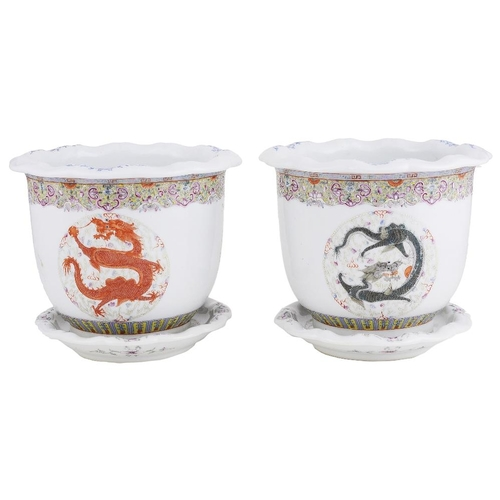 17 - A PAIR OF CHINESE FAMILLE ROSE JARDINIERES AND STANDS  GUANGXU MARK AND PROBABLY OF THE PERIOD  1875...