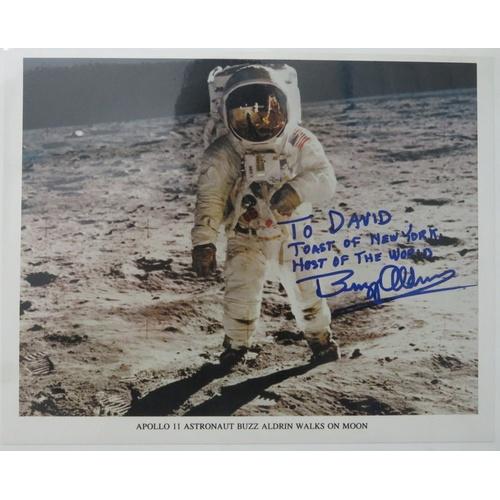 "74 - Buzz Aldrin signed photograph ""Apollo 11 Astronaut Walks Buzz Aldrin On The Moon"" signed ""To David T..."
