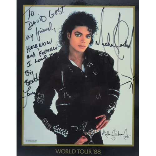 """271 - Michael Jackson World Tour 88 Photograph signed with dedication """"To David Gest my friend here, now a..."""