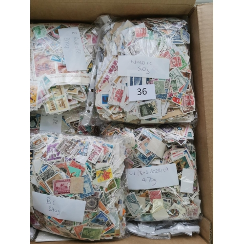 36 - Used off-paper mixture in packets  mainly Foreign. Stated weight approx. 3.5kg. (many 100's)...