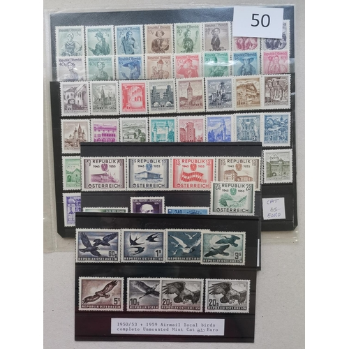 50 - 1940's  1950's UM collection on stockcards incl. 1948-52 Costumes set of 37  commems incl. 1950 Pleb...