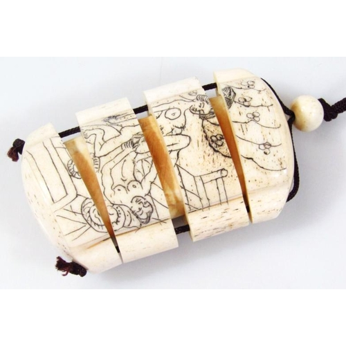 A 20thc Erotic Carved Bone Four Sectional Japanese Pill Box Netsuke Decorated With A Fornicating Co