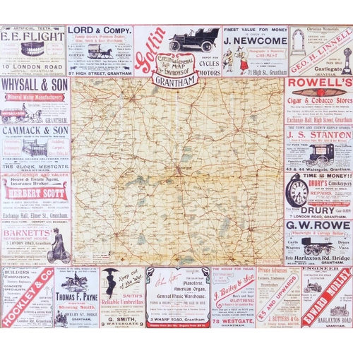 13 - Grantham Interest.  A Roberts & Co Cycling & General Map To The Environs Of Grantham, printed in col...
