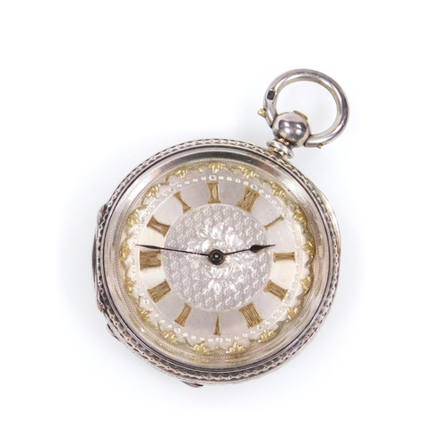 28 - A fancy ladies fob watch, the 4cm dia. Roman numeric dial with stencilled back, in an engine turned ...
