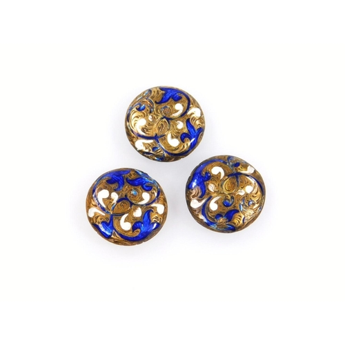 29 - Two sets of three enamel collar studs, each 1.5cm dia. decorated with various flowers, predominately...