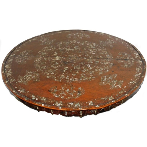 3003 - A 19thC Chinese rosewood centre table, with mother of pearl and abalone shell, silver wire inlays to...