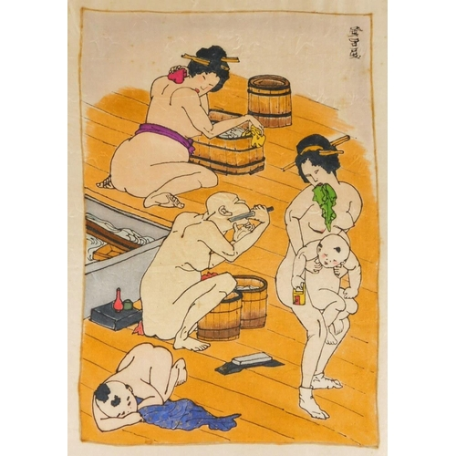 3005 - Two Japanese woodblock prints, with later hand colouring.  (2)...