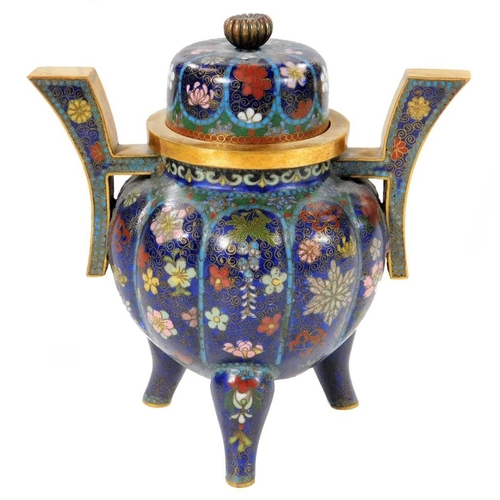 3010 - A Japanese cloisonné koro and cover, 13cm H....