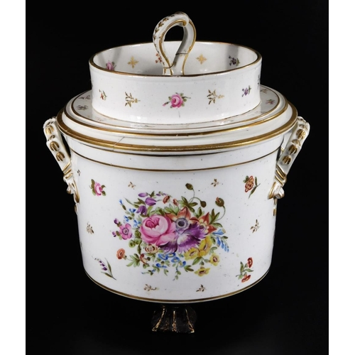 3029 - An early 19thC continental porcelain ice pail, cover and liner, decorated with gold flower sprays, s...