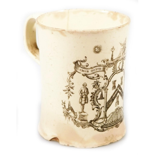 3034 - A late 18thC English creamware tankard, probably Leeds, printed with a Masonic armorial, with loop a...