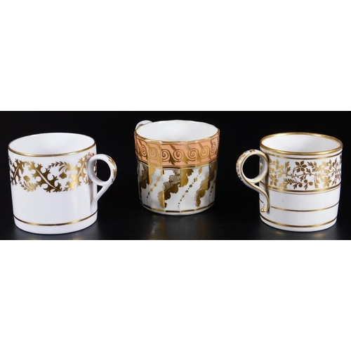 3040 - Three early 19thC English porcelain coffee cans, comprising Barr Worcester, Coalport and Minton,  Mi...