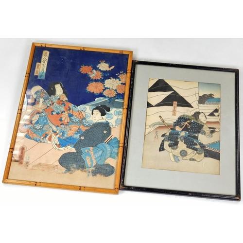 3060 - 19thC Japanese School.  Figure of a samurai, block print in colours, 24cm x 17cm, and an interior se...