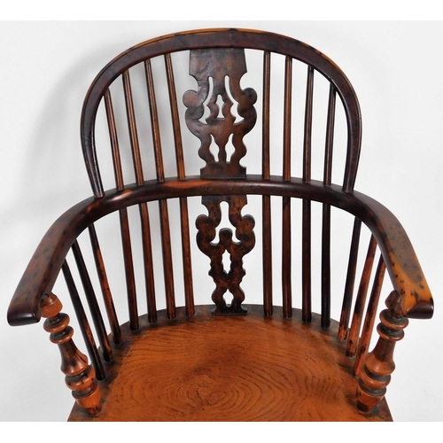2 - A fine early 19thC yew wood low back Windsor chair, with pierced Christmas tree splat, turned legs a...