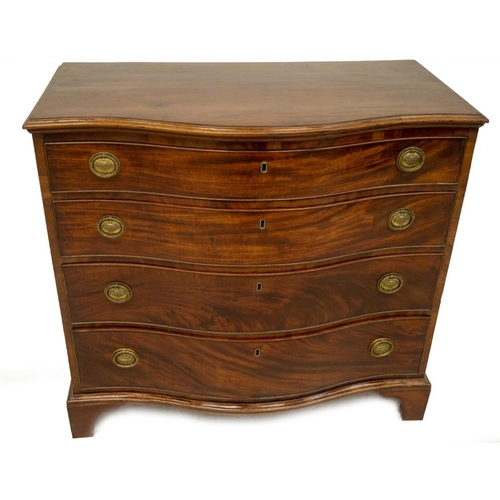 23 - A George III mahogany serpentine chest, of four graduated and cock beaded drawers, with moulded top,...