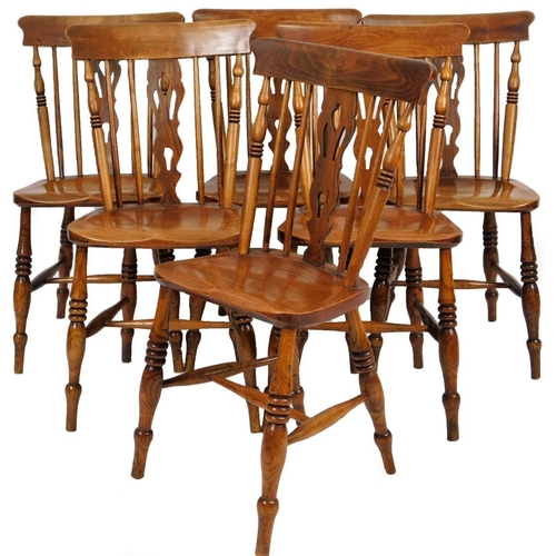 5 - A set of six 19thC Lincolnshire ash, elm and birch Windsor country chairs, with comb cresting rails,...