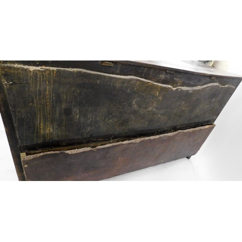 56 - An 18thC oak dresser base, the rectangular plank top with a moulded edge above three frieze drawers ...