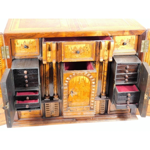 6 - A fine South German marquetry table cabinet or kunstkammer, probably Augsburg, late 16thC, with earl...