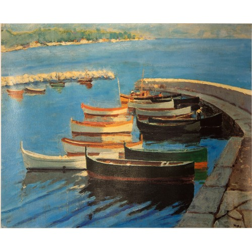 12 - Winston Churchill: Limited Edition Lithograph, of a Painting of Boats, Numbered Print with Blind Sta...