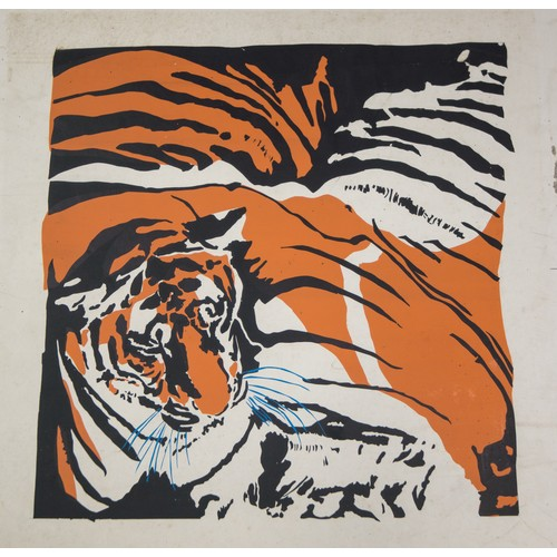 34 - Tiger, Artwork on paper laid down on card....