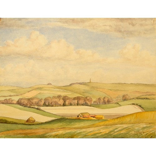 6 - W J Jenkins Watercolour on board, signed and dated, Churchill Monument. Plus two other Watercolours ...