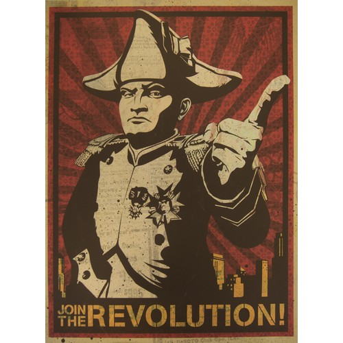 38 - Shepard Fairey. Poster,  Join The Revolution, on matt paper and another larger poster on gloss paper...