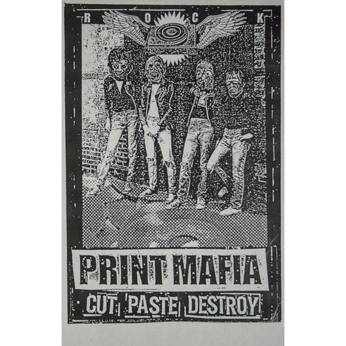 47 - After Banksy print plus signed flower woodcut and a poster by The Print Mafia....