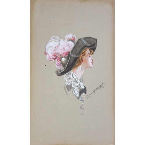 49 - D A McKenzie, painting of Lady In Hat, on card. Signed and dated '14...