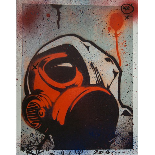 48 - KUE a.k.a Luke Kent. Red Mask mixed media...