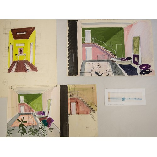 53 - Drawings, Watercolours and Prints, a number in a folio (46) Largest size 59cm x 42cm....