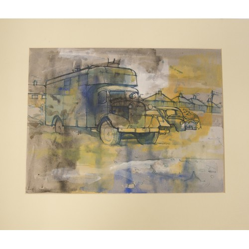 58 - Douglas F Pittuck. Industrial Watercolour of Trucks. Signed and Blindstamp....