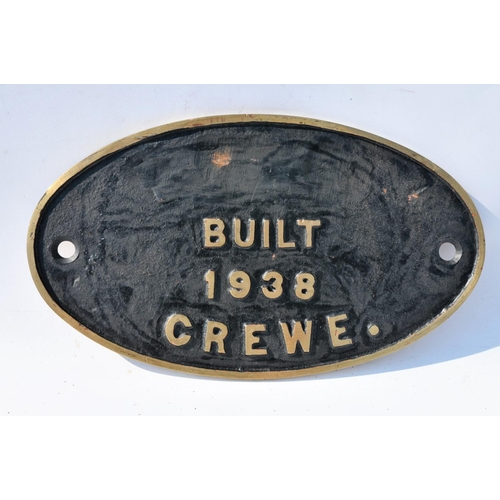 16 - LMS works plate, Built 1938 Crewe, (LMS removed), cast brass....