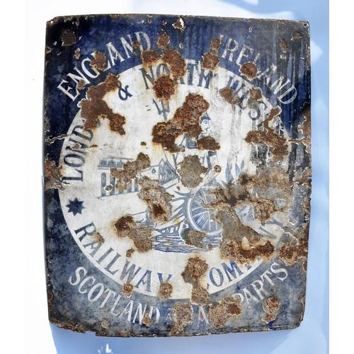 18 - LNWR enamel sign, England, Ireland, Scotland, Wales, poor condition....