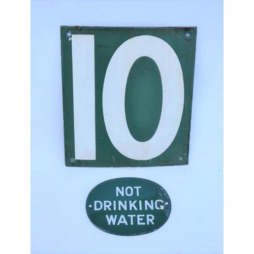 SR Not Drinking Water oval enamel + 10 (car stop sign). (2)