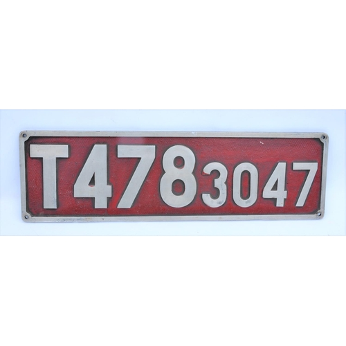 Czech Railways numberplates, T478, 3047, cast alloy.