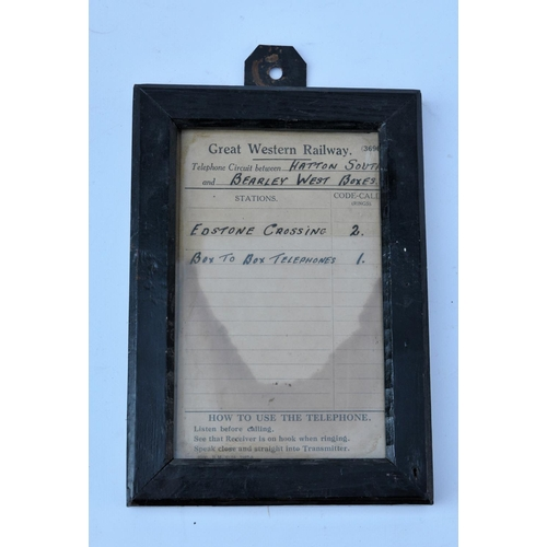39 - GWR phone circuit framed notice, Hatton South - Bearley West, Edstone Xing....