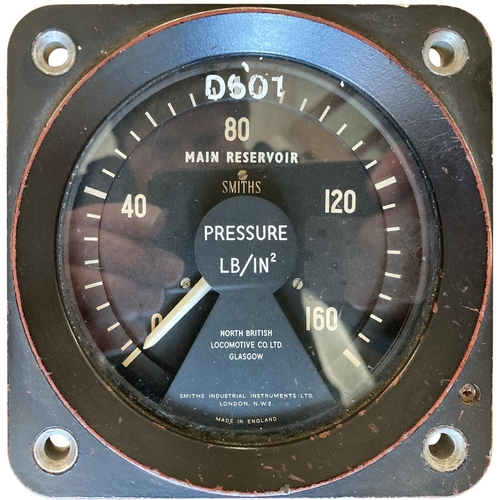 """A pressure gauge from Class 41 Warship D601 ARK ROYAL, the pioneer Western Region hydraulic class and first named diesel locos. 2""""x2""""."""
