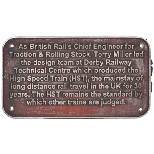 17 - A nameplate T.C.B. MILLER MBE and descriptive plaque from Class 43 HST power car 43048. Named in Feb...