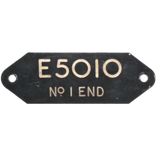 3 - A cab plate from a Class 71, E5010 No 1 END. New to Ashford in October 1959; renumbered 71010 in Dec...