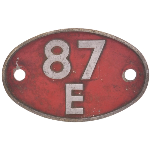 34 - A shedplate 87E Landore (1963 to 1973). This alloy plate was carried by the depot's diesel electrics...