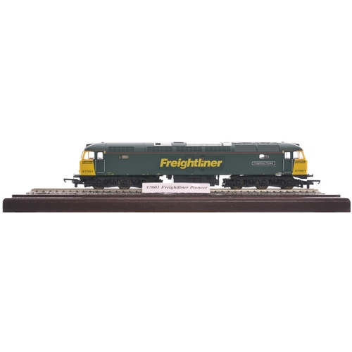37 - A nameplate FREIGHTLINER PIONEER plus a model of the Class 57 57001 which carried this name. The loc...