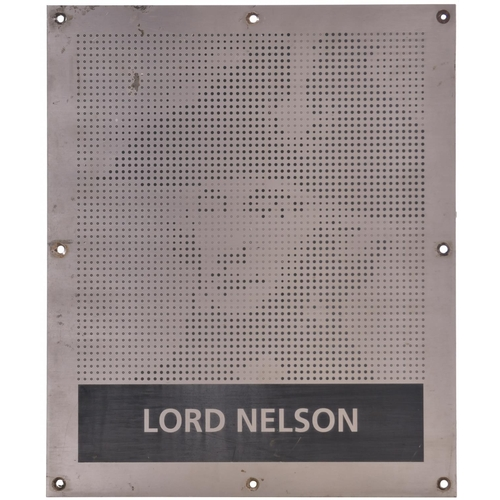39 - A nameplate LORD NELSON from Class 150 150213. Named at Norwich station in July 1994 after Horatio N...