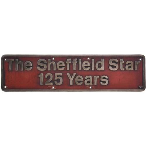 49 - A nameplate THE SHEFFIELD STAR 125 YEARS from Class 43 HST power car 43055. Previously named SHEFFIE...