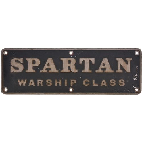 58 - A nameplate SPARTAN, WARSHIP CLASS from a Class 43 D844. Built by NBL in March 1961 as works number ...