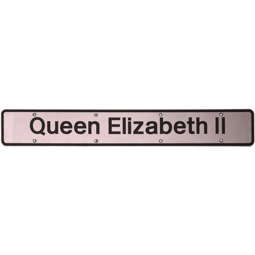 127 - A nameplate QUEEN ELIZABETH II from Class 91029, later 91129. Named at Kings Cross station in June 1...