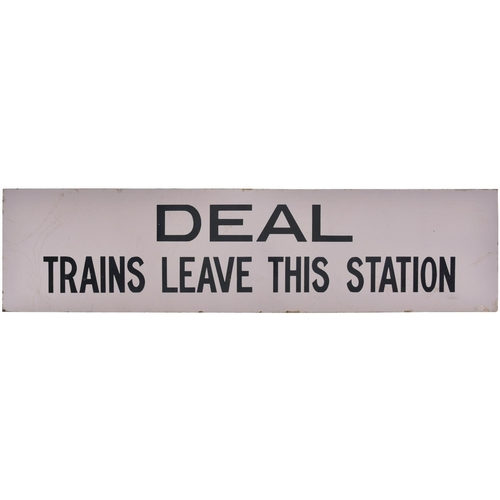 """A South Eastern and Chatham Railway notice, DEAL TRAINS LEAVE THIS STATION, from the Dover to Ramsgate route. Enamel, 39""""x9½"""", a couple of edge chips and minor blemishes. (Postage Band: N/A)"""