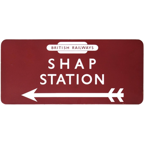 41 - A BR(M) station direction sign, BRITISH RAILWAYS, SHAP STATION, with left pointing arrow, from the L...