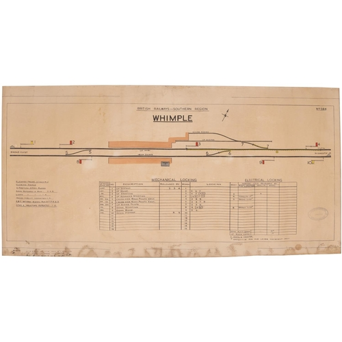 """A BR(S) signal box diagram, WHIMPLE, 1960, from the station between Sidmouth Junction and Exeter Central. Rolled, 35¾""""x18¾"""". (Postage Band: B)"""