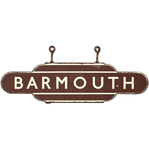 A BR(W) totem sign, BARMOUTH, (h/f), from the Cambrian Coast route. The totem is in original condition, complete with its small hanging hooks, a couple of face chips and edge rusting. It is very unusual today to see a totem in original condition such as this. (Postage Band: D)