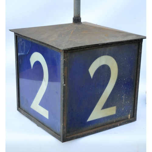 12 - London North Eastern Railway Platform 2 illuminated box sign, blue glass on all four sides with cond...